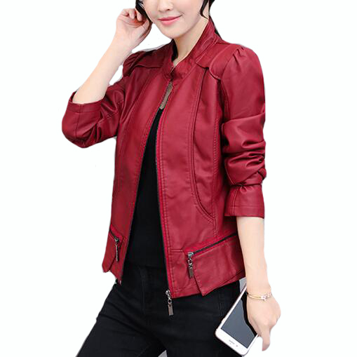 Spring Autumn Motorcycle   Leather   Outwear Coat New Women Stand Collar Zipper PU   Leather   Jacket Black,Red S-XXXL Biker Jackets