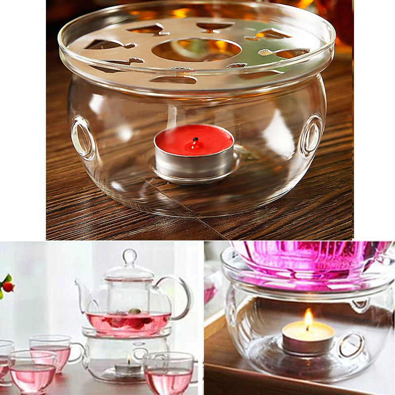 Heating Coffee Water Scented Tea Warmer Candle Base Clear Borosilicate Glass Heat-Resisting Warmer Insulation Teapot Trivets