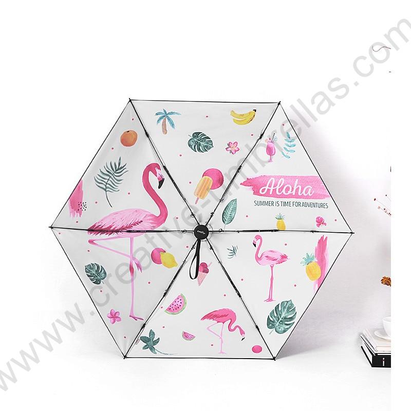 Five fold pongee 5 times black coating anti uv gt 50 flamingo pocket umbrella alloy fiberglass superlight compact bird parasol in Umbrellas from Home amp Garden