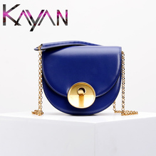 Genuine Leather Saddle Chain Bag Brand Designer Women CrossBody Bag Half Moon Shell Shoulder Bag For Female genuine leather shoulder bag for women with half texture hardware chain half leather belt shoulder straps