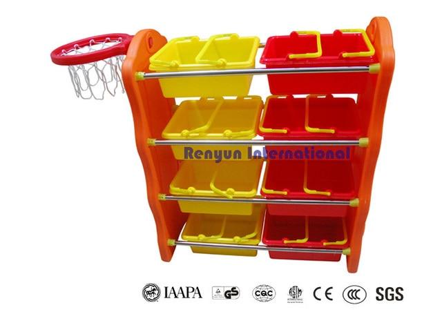 Children Toy Organizer With Basketball Ring Storage Shelf Plastic Storage  Units For Kids