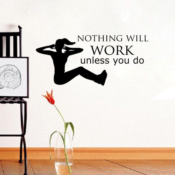 Free Shipping Gym Sport Wall Sticker Nothing Will Work Unless You Do Quote Art Wall Mural Vinyl Home Decor Wallpaper Y-564