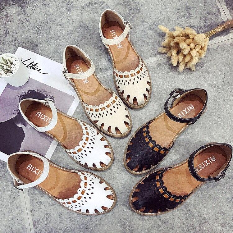 45 blanc Casual Boucle En Plus Noir Blanc Appartements Noir Croix Chaussures Vache Sandales Sangle 46 Taille Cuir D'été Flats La Femmes RwUzz6qx