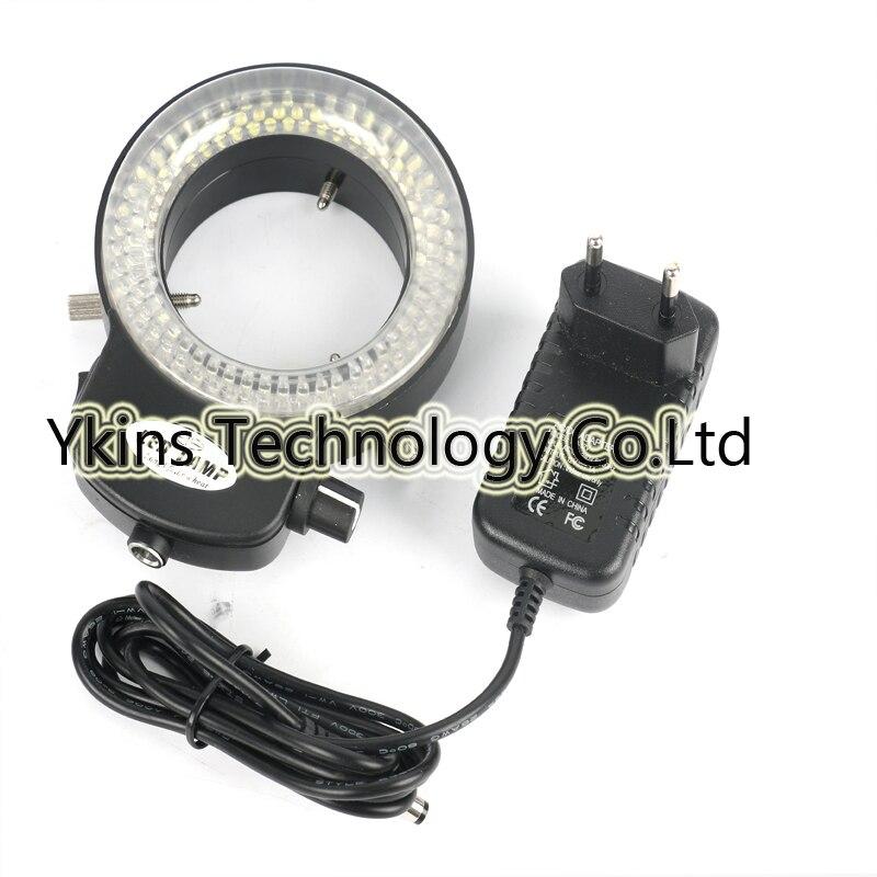 Réglable 6500 K 144 LED Light Ring illuminateur Lampe Pour L'industrie Stéréo Microscope Numérique Caméra Loupe 110 V-240 V Adaptateur