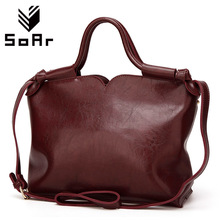 SoAr Women Bag Luxury Brand Leather Handbag Women Messenger Bags Vintage Shoulder Bag Ladies Large Totes Leather Top-Handle Bags