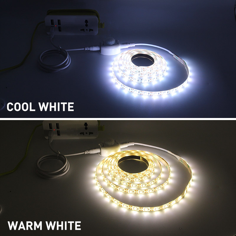 0 5m 3m USB Motion Sensor LED Strip Light Cupboard Wardrobe Bed Lamp Waterproof IP65 Warm White Flexible LED Strip 5V Tape in LED Strips from Lights Lighting