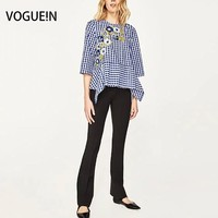 VOGUE N New Womens Checks Plaids Print Floral Embroidered Pullover Blouse Tops Shirt Size SML Wholesale