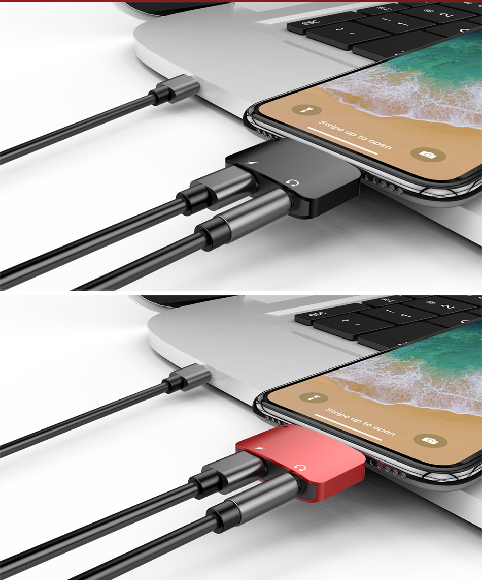 !ACCEZZ Headphone Charge Adapter For iPhone Lighting 7 8 XR XS MAX 3.5mm Jack Earphone AUX Charger Listening Converter Connector (11)