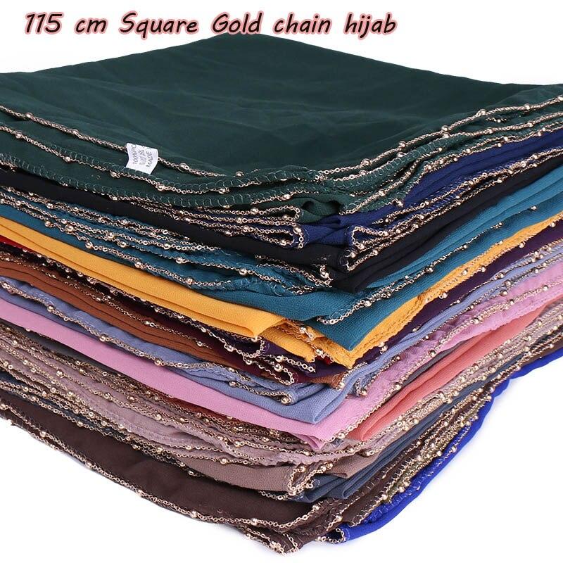 115cm square hijab bubble chiffon scarf glitter plain shawls muslim scarves headscarf solid wraps headband scarves