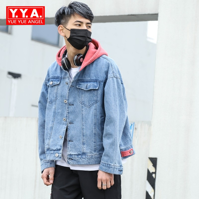 Men Wear 2018 Fashion Spring Autumn Hooded Jackets Loose Fit Jeans Jacket Coat For Mens Casual Cap Coat Mens Hoodie