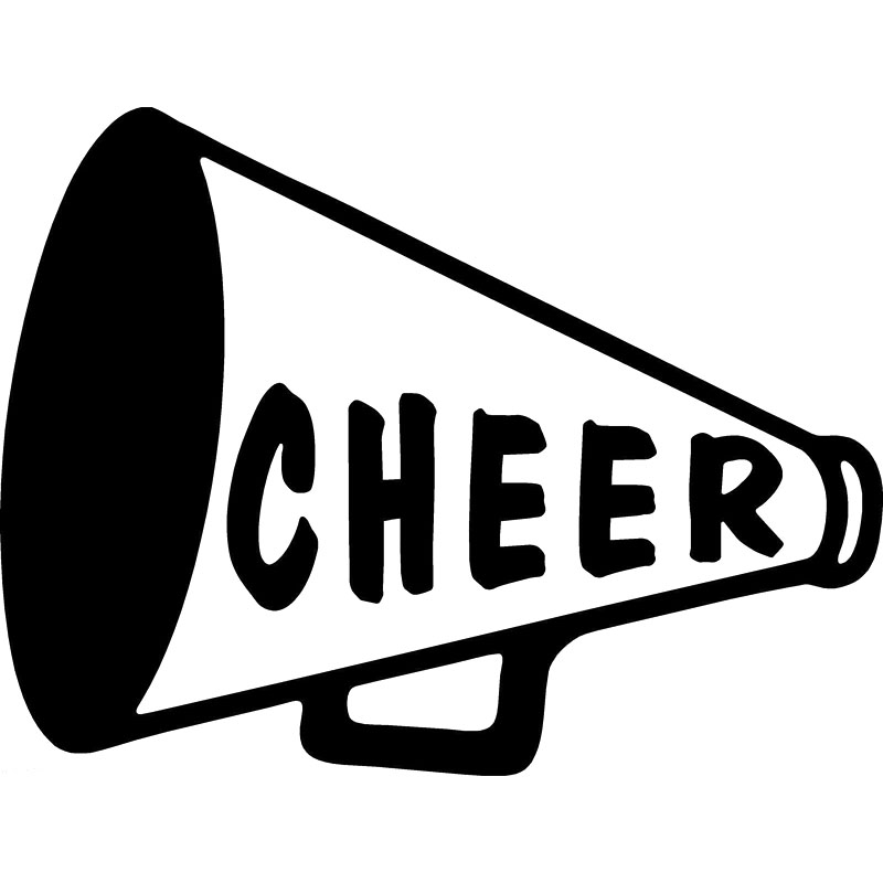 "CHEER MEGAPHONE 5/"" White Vinyl Decal Window Sticker"