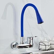 ผนังติดตั้งห้องครัวก๊อกน้ำห้องครัว Mixer ก๊อกน้ำ Dual หลุมร้อนเย็น TAP หมุนฟรี 360 องศา
