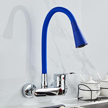 Wall Mounted Kitchen Faucet Single Handle Kitchen Mixer Taps Dual Holes Hot and Cold Water Tap 360 Degree free Rotation