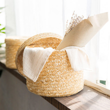 Wheat Straw Storage Basket Desktop Debris Finishing  Home Bathroom Clothing Toys With Lid