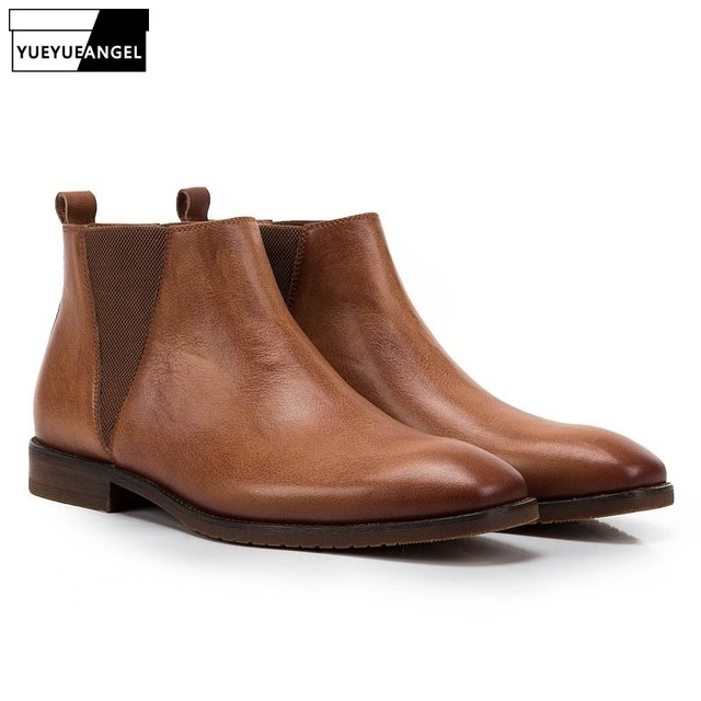 b2a7571b2b Vintage Genuine Leather Cow Mens British Style Ankle Chelsea Boots Soft  Leather Male Low Heel Warm Breathable Brown Casual Shoes