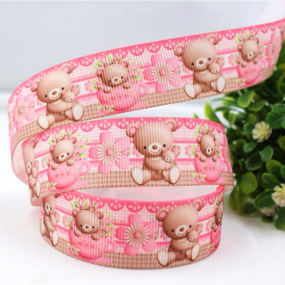 16813m13, 22 мм Медведь Мультфильм серии, DIY печати полушерстяной лентой аксессуары handmadehair свадебный подарок упаковки.