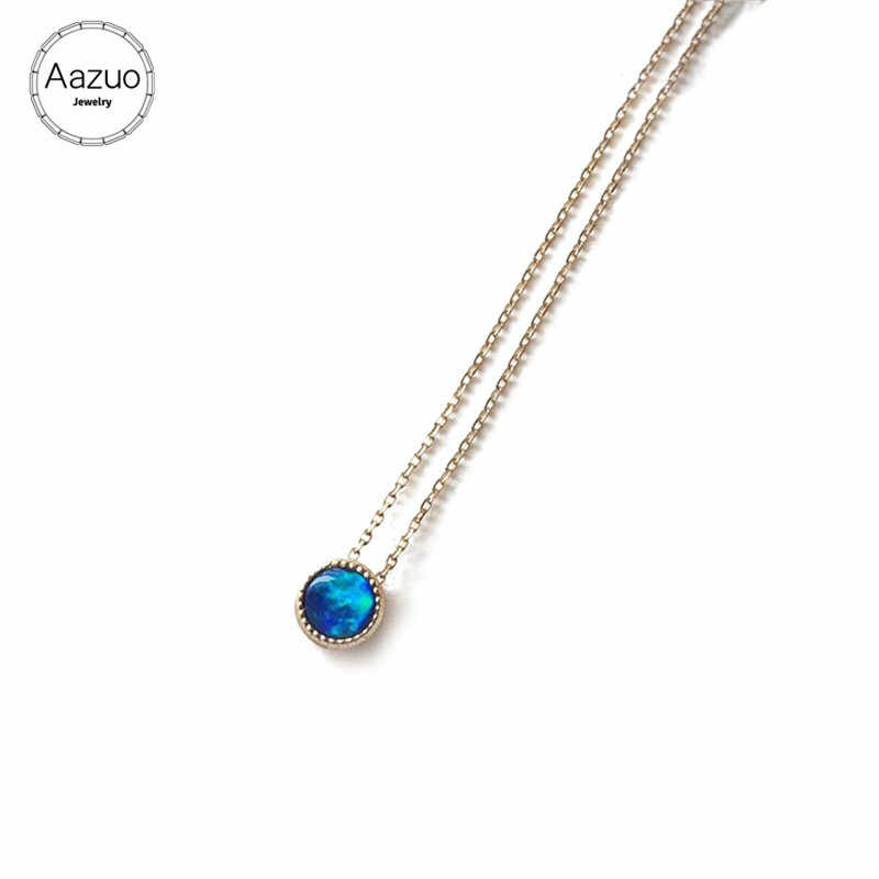 Aazuo 18K Yellow Gold Opal Necklace Natual Bubble Blue Opal Pendant for Women Engagement Wedding Charm Jewely