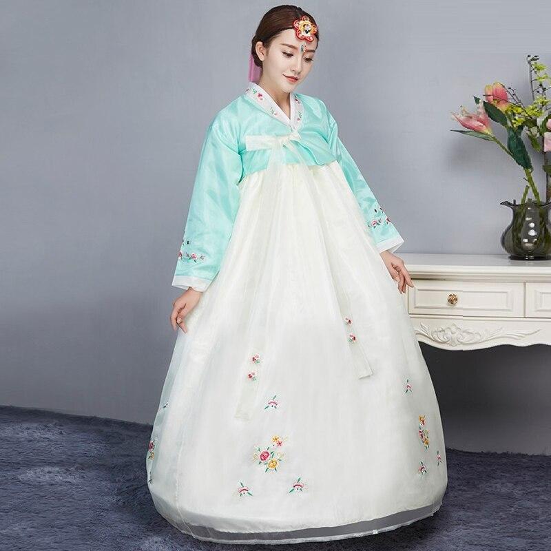 100% Kwaliteit Vrouwen Hanbok Koreaanse Traditionele Jurk Koreaanse Kostuums Nationale Kostuum Katoen Hanbok Borduurwerk Azië Kleding