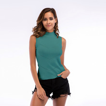 VZFF New Women's High Collar Knit Bottoming Sleeveless Shirt 2019 Rib Vest cross wrap front rib knit bardot tee