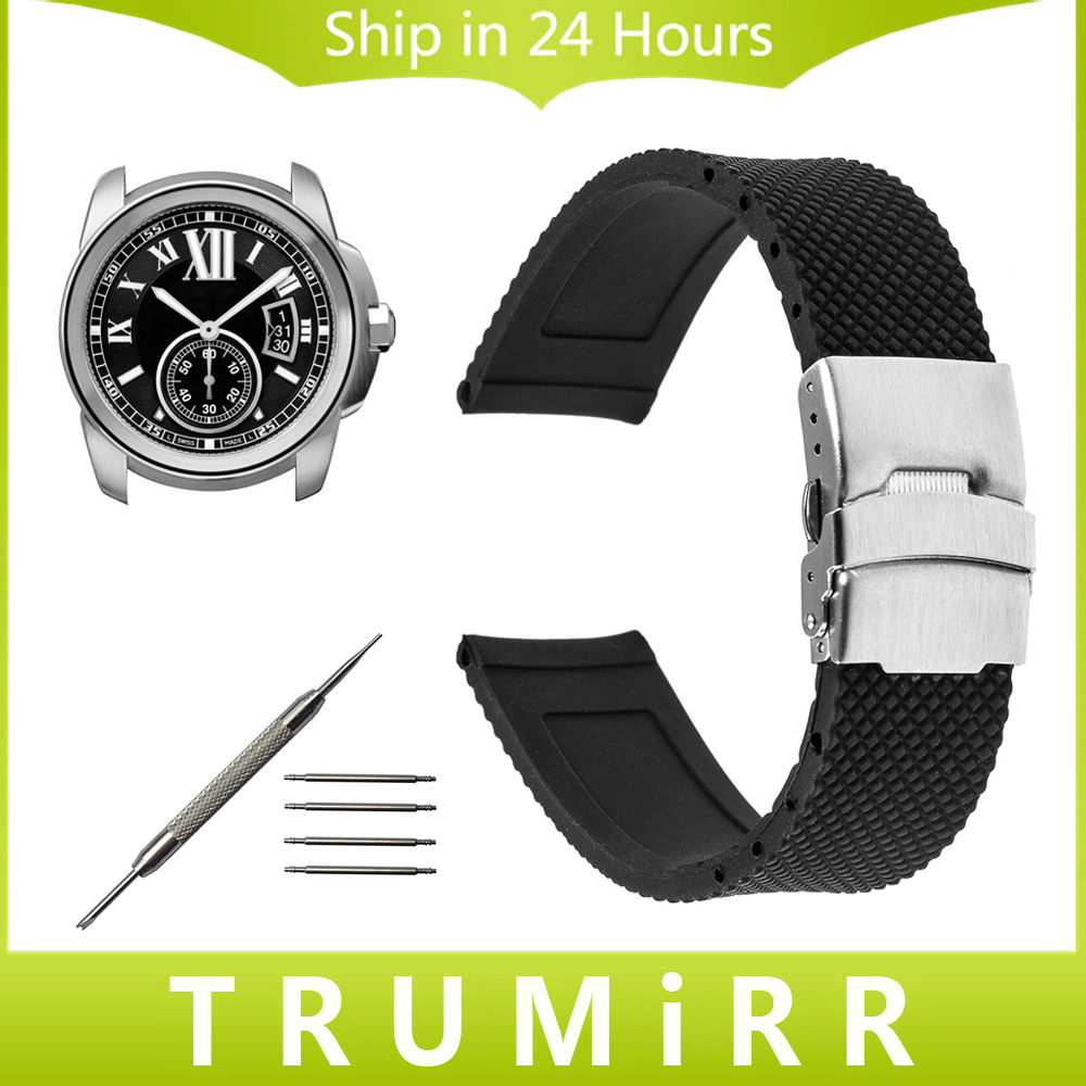 18mm 20mm 22mm 23mm 24mm Silicone Rubber Watch Band for Cartier Tank Solo Santos Stainless Steel