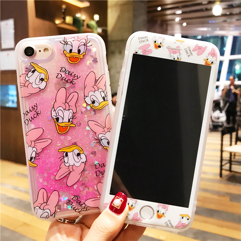 For iphone 8 Cartoon Donald Daisy Dynamic Glitter Liquid Quicksand Case + Glass Screen film For iPhone 6S 6plus 7 7plus 8plus