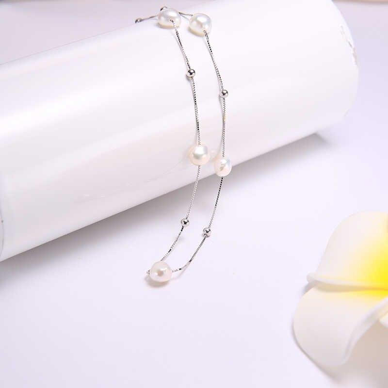 DAIMI Silber Halskette 925 Sterling Silber Einfache Kette Schwimm Perle Halskette Charme Hochzeit Event Choker Halskette Edlen Schmuck