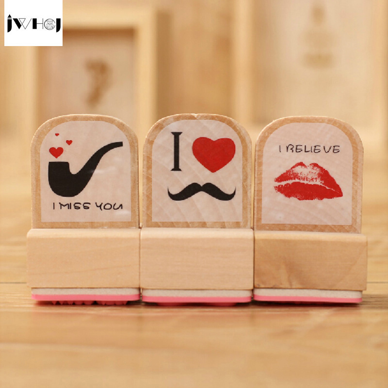 JWHCJ 3pcs/set graphic wooden rubber stamp for Kids DIY Handmade Scrapbook Photo Album students Stamps Arts,Crafts gifts