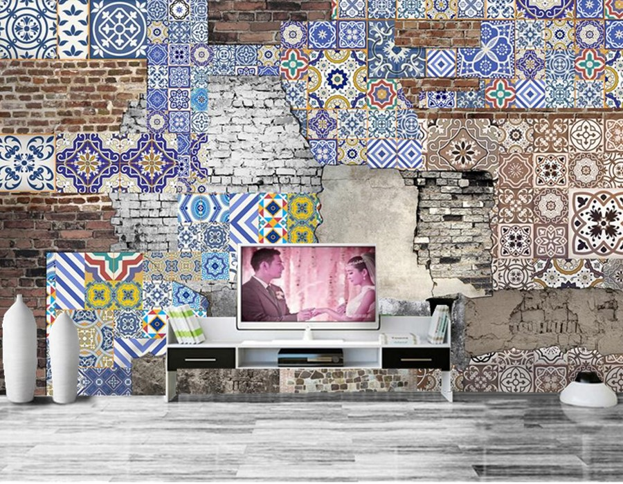 Aliexpress Com Buy Large Custom Mural Wallpapers Living: Custom Large Mural,Postmodern Style Complex Gu Bopu