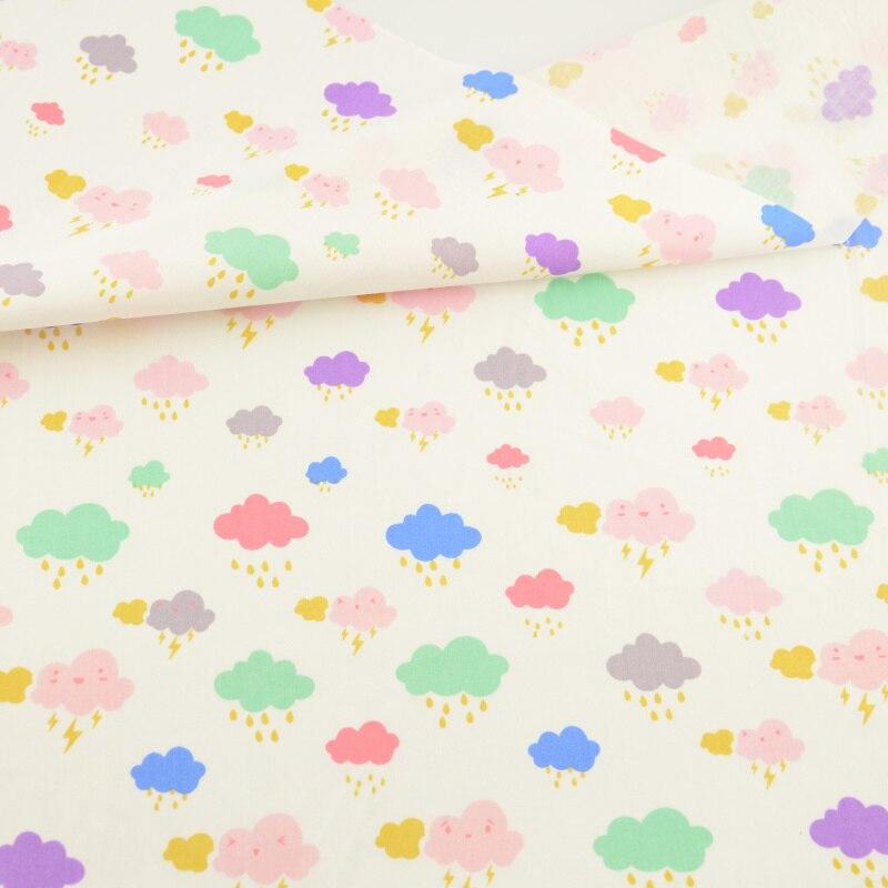 Beige algodón Telas lindo nube de lluvia tejido textil de hogar ...