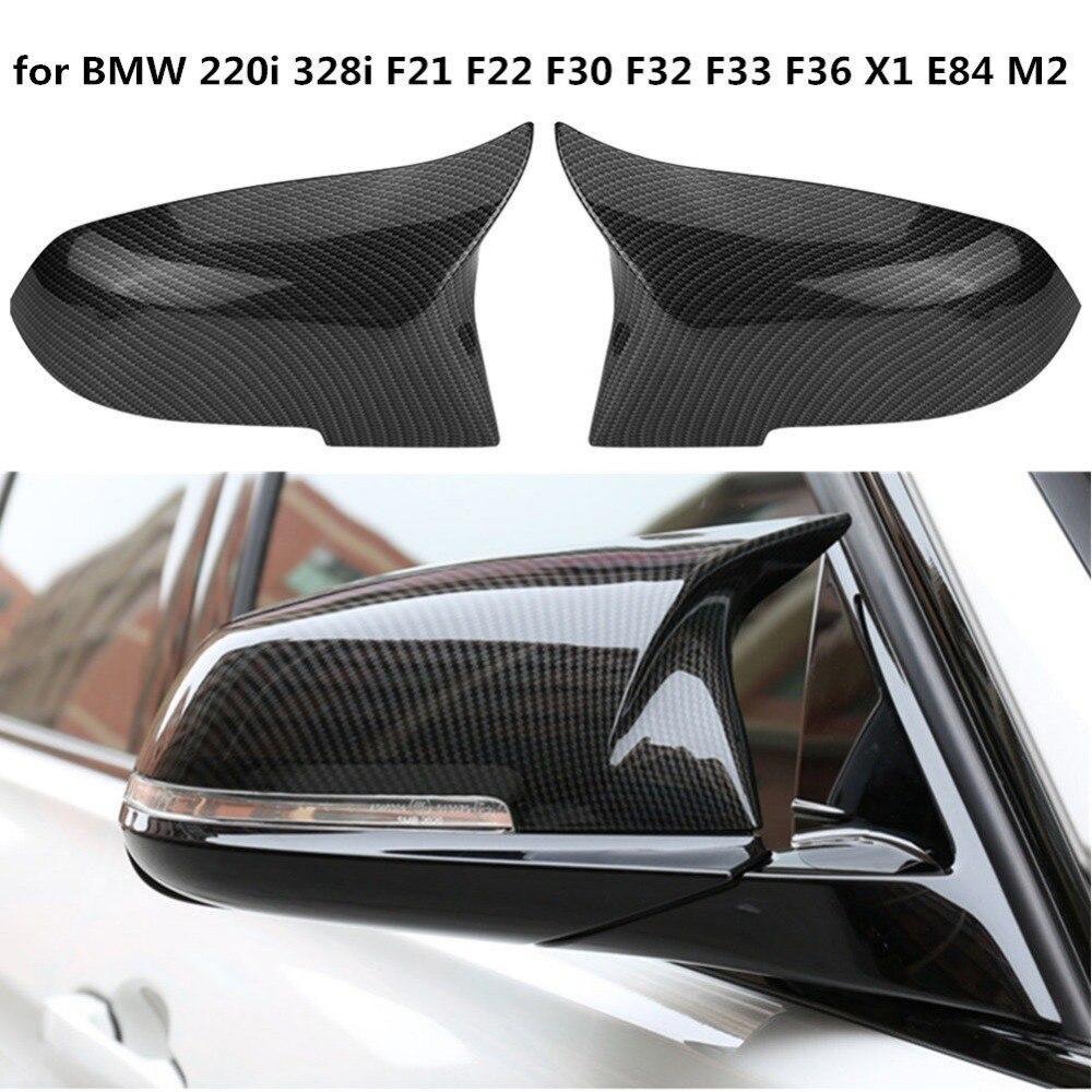 Bir çift dikiz aynası kapakları kapak karbon Fiber yüksek kalite için BMW serisi BMW F20 F22 F23 F30 F31 F32 F33 f36 F87 M2 X1 E84