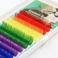 12 Linhas de Várias Rainbow Color Pestana Extensão Individual Cílios Ferramentas de Maquiagem de Alta Qualidade 0.1mm Colorido