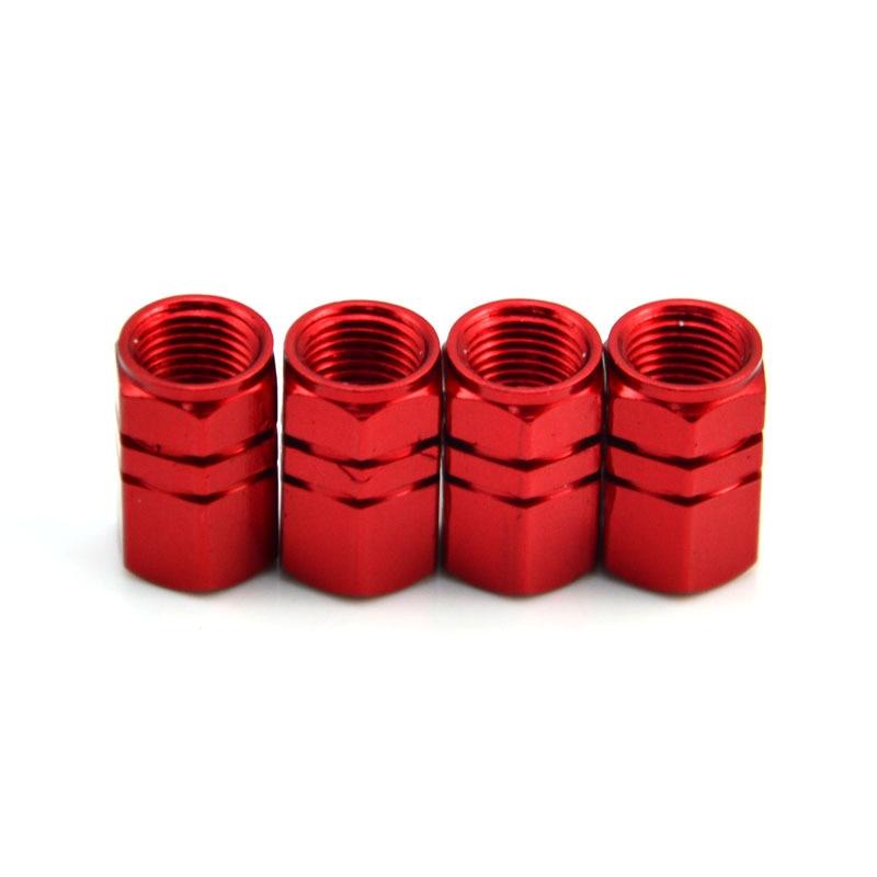 Шины 4 х алюминиевых обода колеса шины стволовые крышки воздушного клапана покрышки для автомобиля грузовика мотоцикла 6 цветов - Цвет: Красный