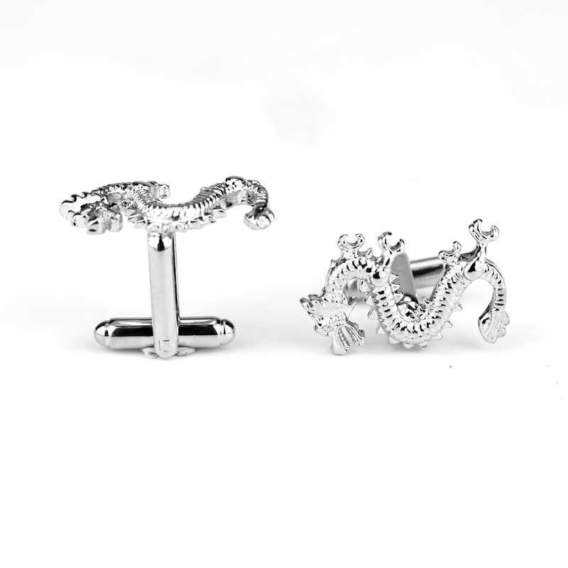 Dongsheng запонки с изображением дракона браслет серебристого цвета Ссылка для мужчин браслет из сплава звенья животный дизайн Ювелирная рубашка запонка-40