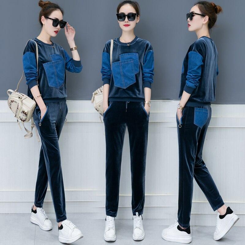 Otoño 2018 nuevo diseño ocio traje suelto de dos piezas casual traje coreano moda denim parche terciopelo buena tela sudaderas pantalones XXL - 3