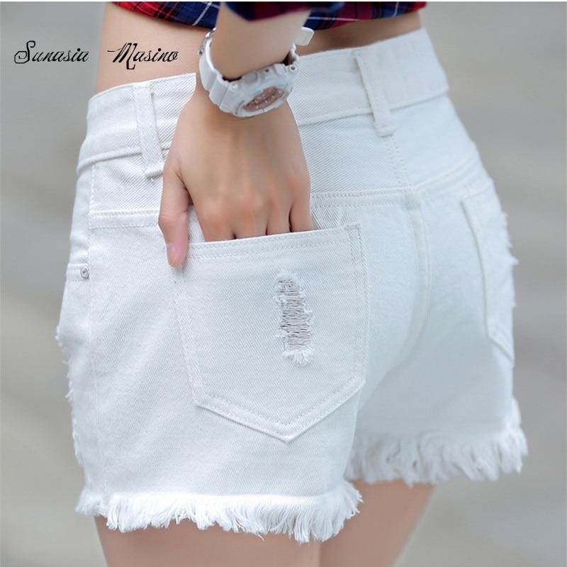 2018 fashion Summer style Cotton denim lady   shorts   white hole mid women's denim   shorts