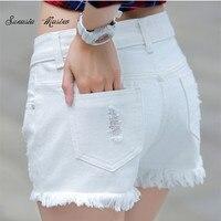 2015 Fashion Summer Style Cotton Denim Lady Shorts White Hole Mid Women S Denim Shorts