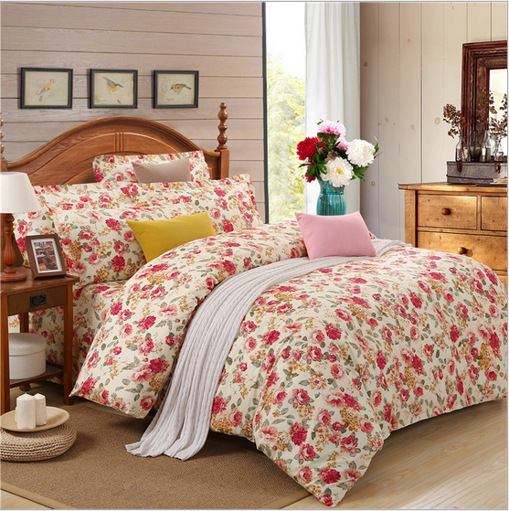 Peony flowers pattern beding sets soft fabtic bedding sheet 4pcs/set 100%cotton Queen size comfortable printing beding sets