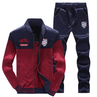 Men's sports sweat suit autumn tracksuit for men 2 pieces set long sleeve Plus velvet tracksuit survetement homme D1101