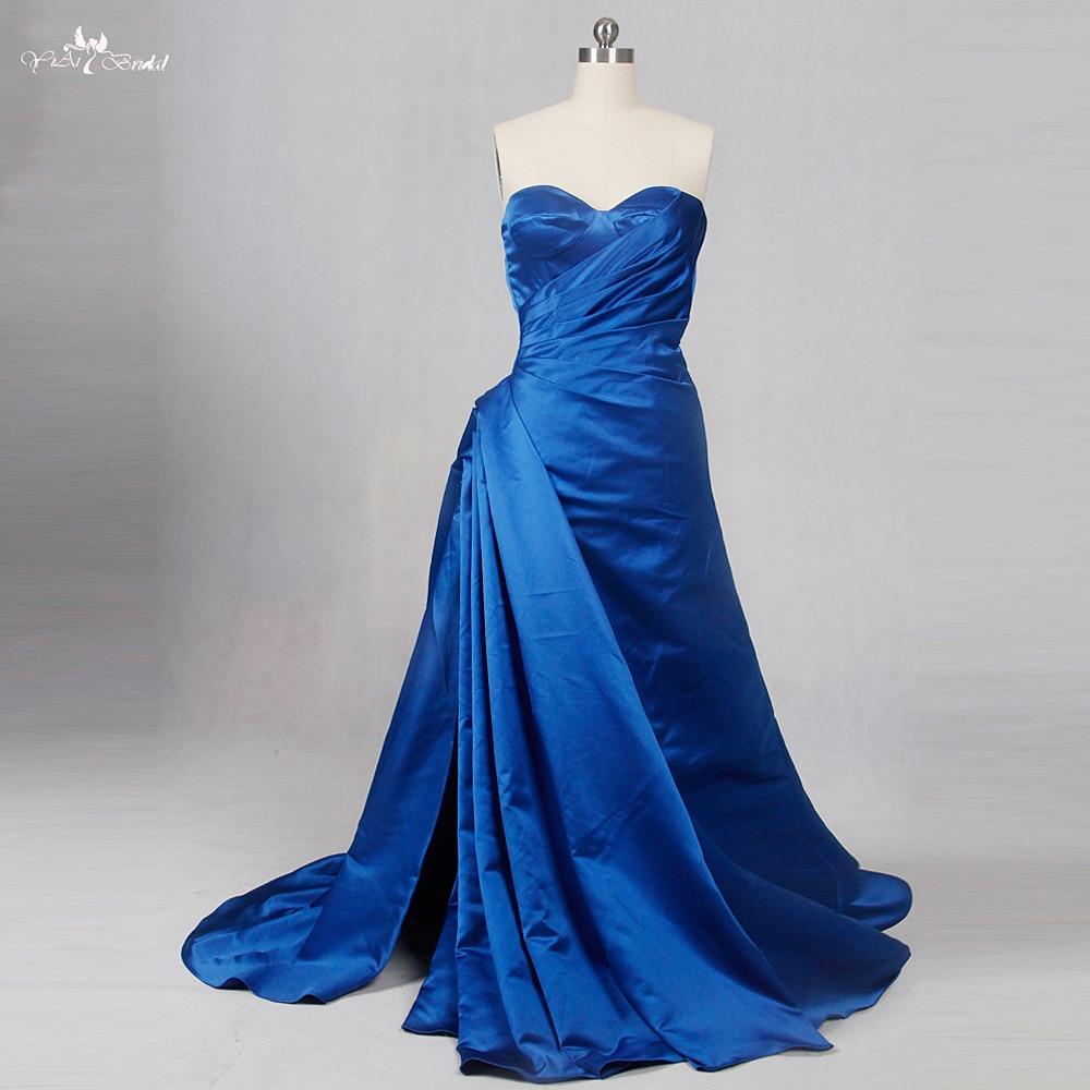 RSE795 High Slit Leg Simple Satin Royal Blue Wedding Gowns
