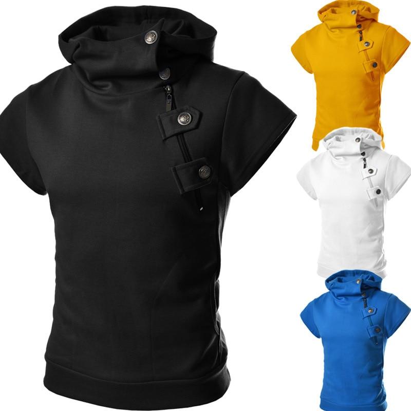 Short Sleeve Hoodie Men Zip