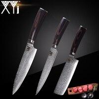 XYj бренд VG10 нож из дамасской стали 3 предмета в комплекте, Цвет деревянной ручкой японский Сталь Кухня Ножи ультра тонкое лезвие Пособия по к