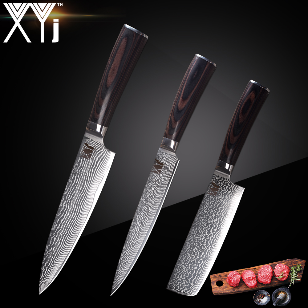 XYj Marke VG10 Damaskus Stahl Messer 3 Pcs Set Farbe Holz Griff Japanischen Stahl Küche Messer Ultra dünne Klinge kochen Messer Set-in Küchenmesser aus Heim und Garten bei  Gruppe 1