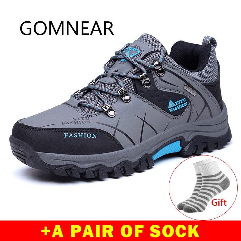 GOMNEAR Men Camel Trekking Hiking Shoes Outdoor Hunting Shoes Breathable Waterproof Antiskid Jogging Athletic Sport Sneaker
