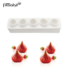 1PCS Five Holes Flame Dome Shaped Rectangle Silicone Mold Baking Desserts Cake Decorating Tools