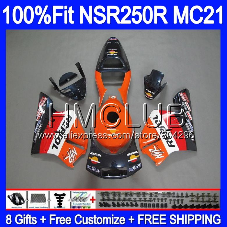 Injection For HONDA <font><b>NSR</b></font> <font><b>250</b></font> R MC21 PGM3 NSR250R 90 91 92 93 94HM.1 NSR250 R Repsol Orange NSR250RR 1990 1991 1992 1993 Fairings image