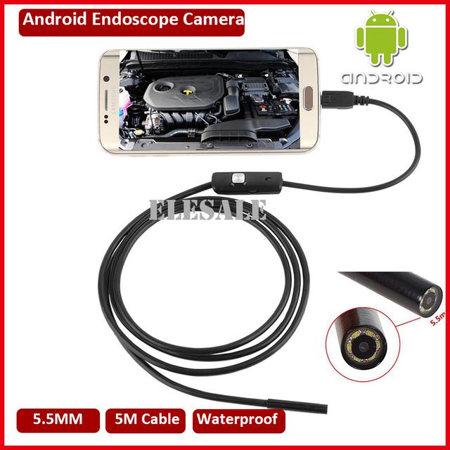 5.5mm 5 M Cabo Endoscópio Módulo Da Câmera À Prova D' Água Inspeção Endoscópio 6LED USB OTG Android Subaquática De Pesca Para Windows PC