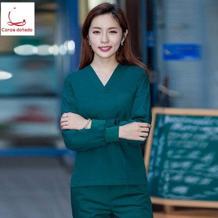 Doctors Wear Cotton Surgical Dress Women's Surgical Dress Women's Beauty Salon Work Clothes Brush Hand Dress Long Sleeve