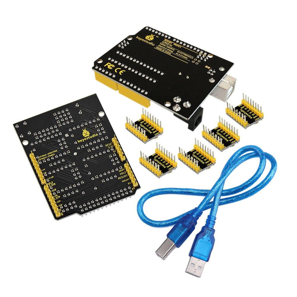 Image 4 - Frete grátis! keyestudio kit cnc para arduino cnc escudo v3   uno  r3 4 peças a4988 driver/grbl compatívelkit for arduinokit kitsuno r3