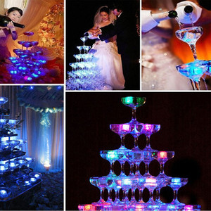 Image 2 - Led アイスキューブグローイングパーティーボールフラッシュライト発光ネオン結婚式フェスティバルクリスマスバーワインガラスの装飾用品 12 個