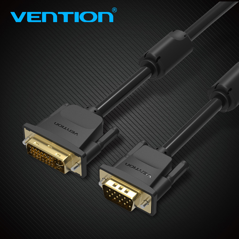 Vention DVI to VGA Adapter Cable High Resolution DVI-I 24+5 Pin Male to VGA Male Adapter Converter for PC Monitor HDTV Projector цена 2017